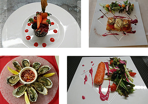 4 photos de différents plats du restaurant l'Entracte à Loches (37)