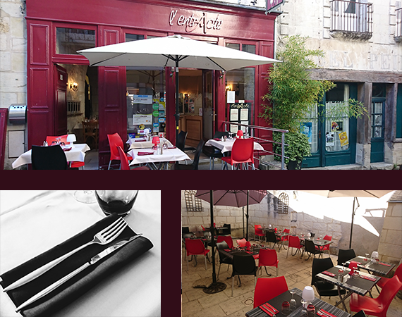 Devanture du restaurant, terrasse avec ses tables dressées.